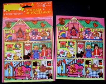 Vintage 1980's American Greetings Cute Dollhouse  Stickers 2 full sheets