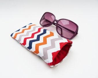Fabric glasses case, chevron stripe, multi colour, cotton sunglasses case