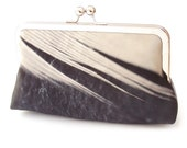 Clutch bag, feather purse, black and white, printed silk, gift box, FEATHER STRIPE