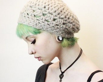 The Gypsy Lace Slouch boho beret vegan Mori Girl chunky Hat WOOL Natural Ivory