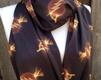 The Flash Infinity Scarf, Lightning Bolt Scarf, Comic Con, Women's Scarves, Silky Jersey, Sci-Fi, Geek