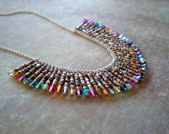 Colorful Choker - Birthday Christmas Gift Wife -Chic Bib Necklace - Mix Crystal Beads - Kaleidoscope Necklace- Fan Necklace- Fringe Necklace