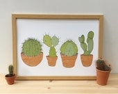 Cactus print - plant illustration - house plant wall art - home gift