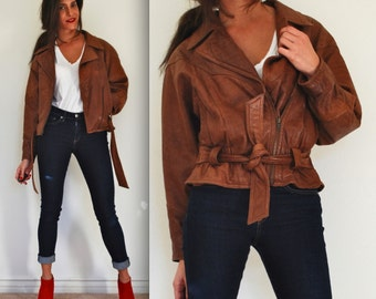 SPRING SALE/ 20% off Vintage 80s Adventure Bound Brown Leather Aviator Jacket (size small, medium)