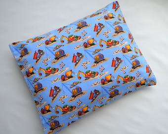 The Perfect Toddler Pillow ...Dump Trucks, Cranes & Bulldozers Construction Vehicles Med Blue Flannel ... Original Design by Sew Cinnamon