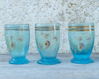 Vintage Antique 1900 old French enamel handpainted set of 5 tumblers glasses / liquor / cordial