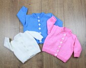 KNITTING PATTERN For round neck Baby Cardigans in 3 Sizes PDF 172 Digital Download