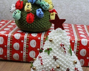KNITTING PATTERN For Christmas Tree Advent Calendar Christmas Decoration PDF 300 Digital Download