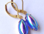 Sapphire AB Rhinestone leverback Earrings / Aurora borealis / vintage style earrings / cobalt blue / gift for her / September birthstone