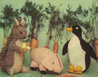 Vintage Soft Toys, (Pig, Penguin, Squirrel) Knitting Pattern, 1960 (PDF) Pattern, Lavenda 909