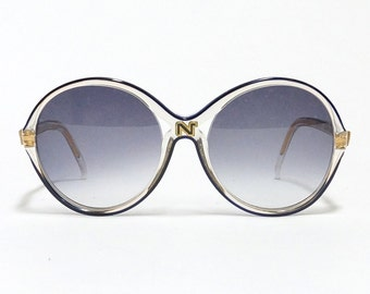 Nina Ricci vintage sunglasses - mod 126, round blue oversized French designer eyewear in unworn deadstock condition with new lenses.