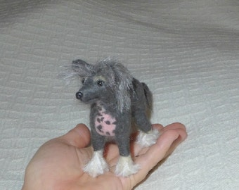 Needle Felted Dog / Custom Pet Portrait / handmade Dolls and Miniature gift /  poseable / example Chinese Crested small size