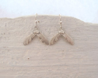 Sterling silver tiny maple seed earrings