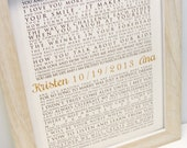 FRAMED Wedding Vows, One Year Anniversary, Personalized Gift, Wedding Vows, Framed Wedding Keepsake, Typography Wall Art - Vertical #1503