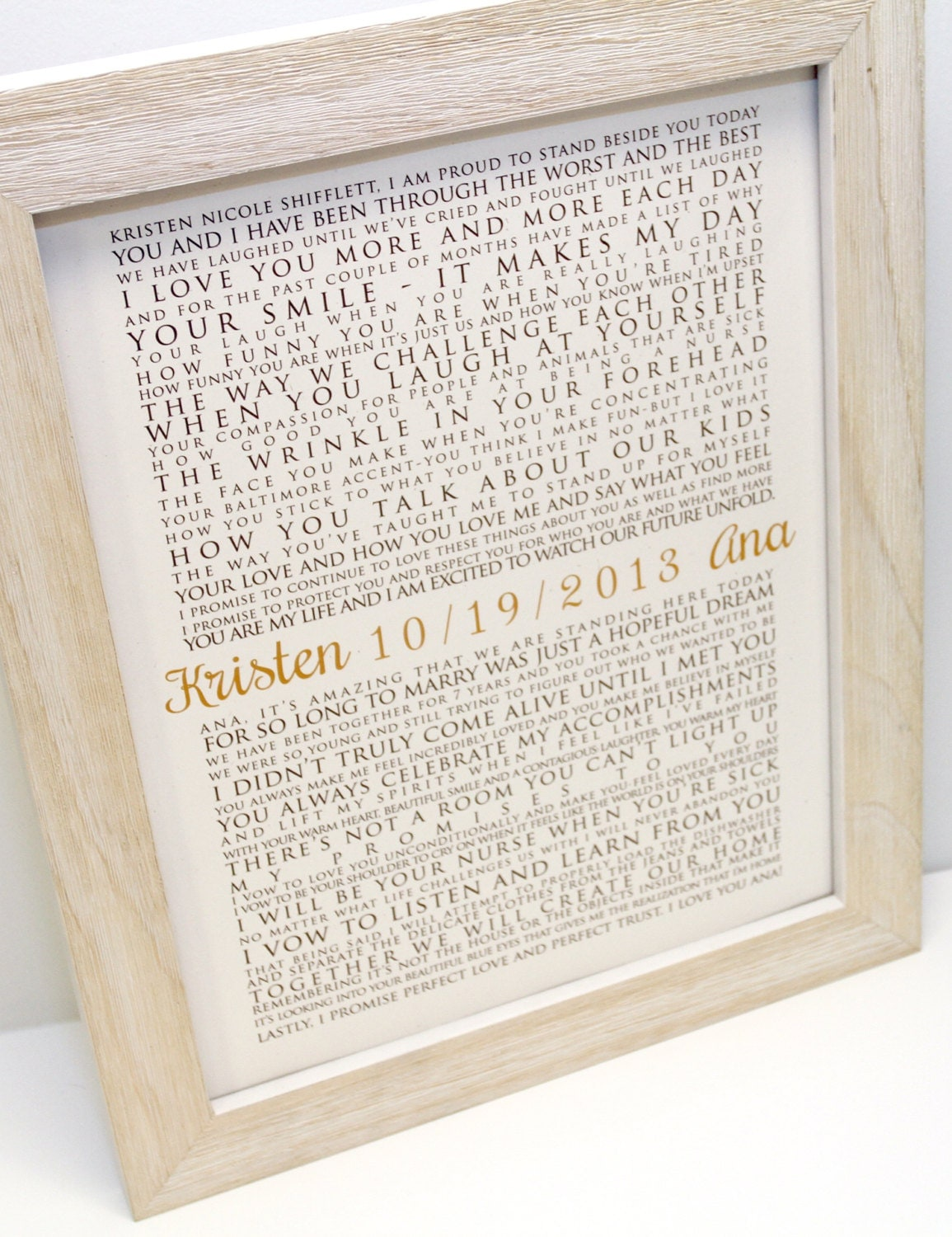 FRAMED Wedding Vows One Year Anniversary Personalized Gift