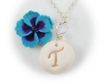 Personalized Hibiscus Initial Necklace - Hibiscus Jewelry