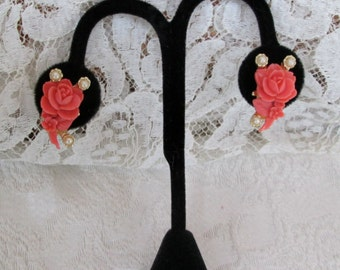 Vintage Coral Rose Buds w Pearl Earrings Celluloid Clipback Style c. 1950s 50s Era