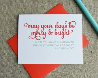 Letterpress Holiday Card - Hangover Brunch