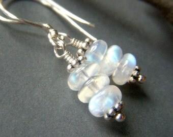 Rainbow Moonstone Earrings, Sterling Silver, Petite Stacked Gemstone Rondelle, Fiery Moonstone Dangle, Genuine Rainbow Moonstone