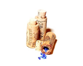 Upcycled Recycled Miniature Container Cork Bottle Set of 3