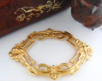 BRASS Art Deco Garden Focal Frame Brass Stampings - Jewelry Ornament Findings (C-805) #