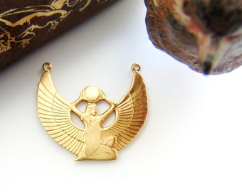 BRASS ISIS Egyptian Goddess Brass Stampings and Jewelry Ornament Findings (D) #