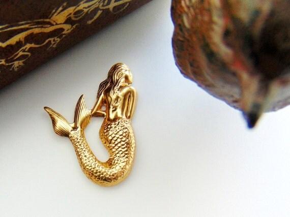 BRASS  4 MERMAID Greek Siren Brass Stampings - Jewelry Ornament Findings (D-5) #