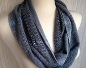 Shades of Gray with Blue Gray Cashmere Handwoven Infinity Scarf DBJ 31