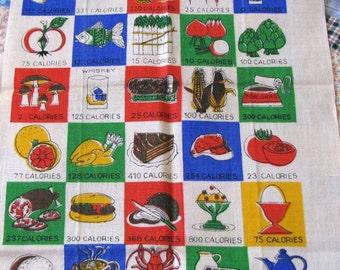 Vintage Kitchen Towel, Rare Kitchen Towel, Retro Towel, Calories Pattern Towel, Retro Kitchen, Unused Kitchen towel, Kitsch, Novelty Towel
