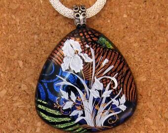 Dichroic Pendant - Fused GlassPendant - Iris Decal - Dichroic Jewelry - Flower Pendant