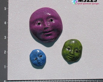 FACES Shimmer faces- Kiln Fired Handmade Ceramic Mosaic Tiles  M3223