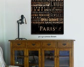 Paris France streets and places typography graphic art on gallery wrapped canvas by stephen fowler
