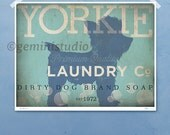 Yorkie Yorkshire Terrier dog laundry company laundry room artwork giclee archival signed artists print by stephen fowler Pick A Size