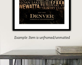 Denver colorado typography streets and neighborhoods graphic art giclee signed print UNFRAMED