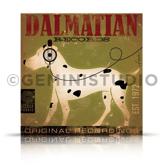 DALMATIAN records dog album inspired artwork on gallery wrapped canvas by stephen fowler