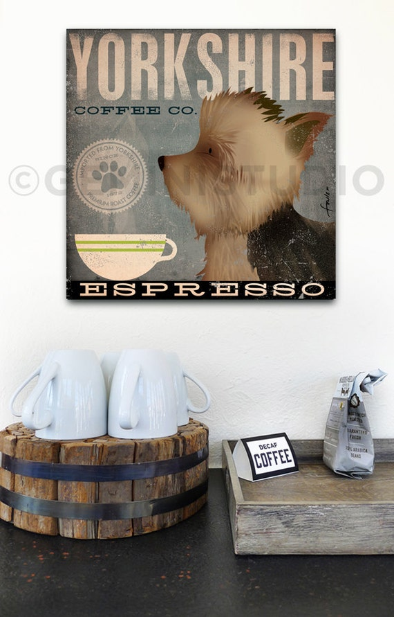 Yorkshire dog Coffee Company Yorkshire Terrier illustration art on gallery wrapped canvas by Stephen Fowler