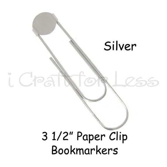 12 SILVER Jumbo / Large Paper Clip Bookmarkers with 16mm Pad - 3 1/2 Inch - 10 PERCENT REFUND