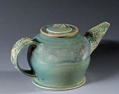 Round Stoneware Teapot with Wildflowers in Aquamarine Celadon