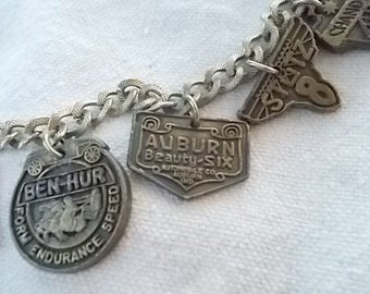 Vintage Car Logo Charm Bracelet 50s vintage Stutz Duesenberg Auburn etc Rare Item