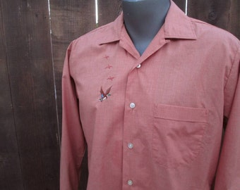 Mallard ducks 60s vintage Shirt Copper rust  button loop long sleeve bird shirt  M