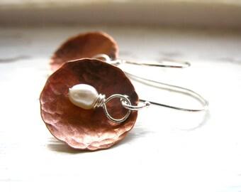 Pearl Earrings, Freshwater Pearl Copper Dome Dangle Drop Earrings, Metalwork White Pearl Earrings, Pearl Jewelry