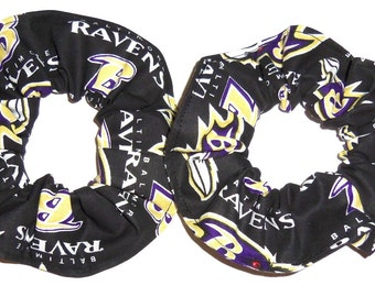 Baltimore Ravens Fabric Hair Scrunchies by Sherry Ties NFL Football Regular or Minis