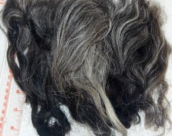 Karakul Sheep Wool Locks for Spinning Felting and Doll Hair, Doll Wig, in Natural Shades of Charcoal Gray and Black 1 oz.