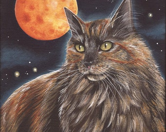 Dressed for Halloween - 8 x 10 Print of Original Acrylic Tortoiseshell Cat Painting by Carolee Clark