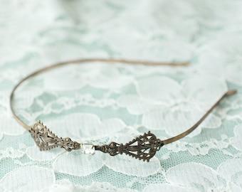 Copper filigree bridal headband crystal jewel antique finish edwardian vintage style ornate wedding hair accessory