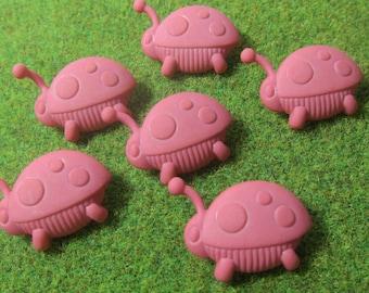 Chunky Pink Ladybug Novelty Buttons