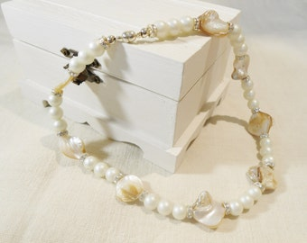 Keshi and Pearl Beaded Necklace   - interspaced with Diamantes - Handmade