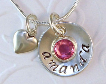 Mothers Necklace, Hand Stamped Jewelry, Personalized Necklace, Grandmothers, Sterling Silver, Heart Charm, Mommy, Birthstone, New Mom