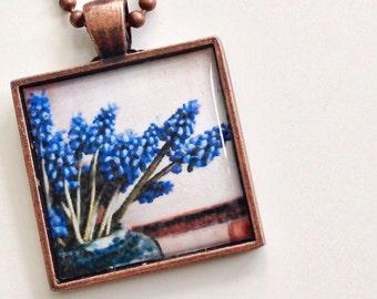 Grape Hyacinth Pendant - Flower Pendant