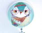 ID Badge Holder - Lady Owl with Eyeglasses, Retractable Badge Reel, Name Badge Holder - 106